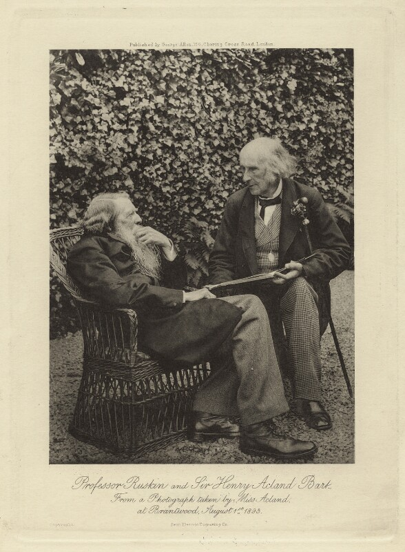 John Ruskin; Sir Henry Wentworth Acland, 1st Bt, by Sarah Angelina Acland, published by  George Allen, 1 August 1893 - NPG x13297 - © National Portrait Gallery, London
