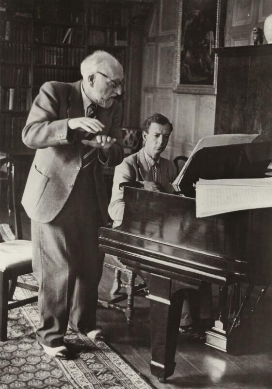 Ernest Ansermet; Benjamin Britten, by Unknown photographer, 1946 - NPG x15206 - © National Portrait Gallery, London