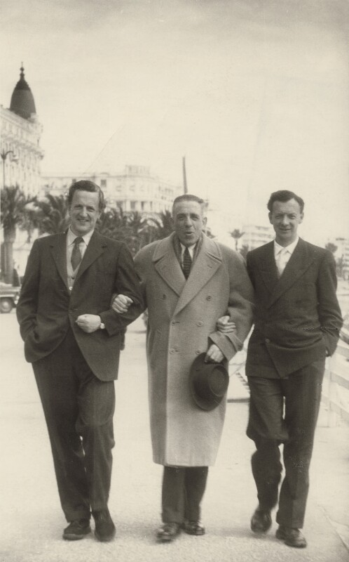 Peter Pears; Francis Poulenc; Benjamin Britten, by Unknown photographer, 1955 - NPG x15234 - © reserved; National Portrait Gallery, London