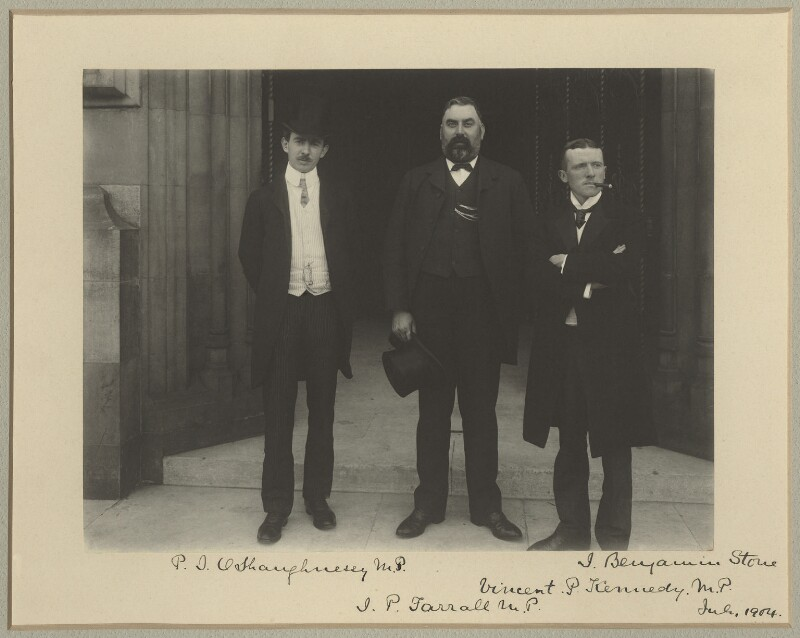 Patrick Joseph O'Shaughnessy; James Patrick Farrell; Vincent Kennedy, by Sir (John) Benjamin Stone, July 1904 - NPG x15810 - © National Portrait Gallery, London
