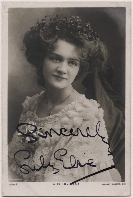 Lily Elsie (Mrs Bullough), by Richard Williams Thomas, published by  Rotary Photographic Co Ltd, circa 1905 - NPG x16490 - © National Portrait Gallery, London