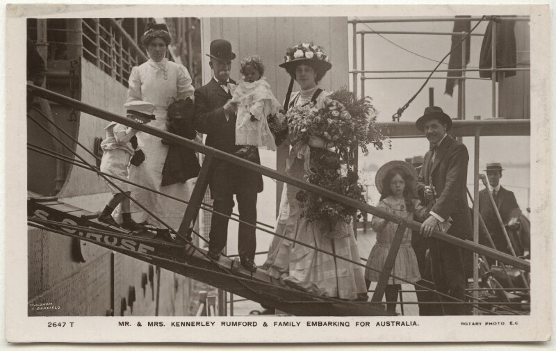 'Mr. & Mrs. Kennerley Rumford & family embarking for Australia', by Foulsham & Banfield, published by  Rotary Photographic Co Ltd, 1907 - NPG x17126 - © National Portrait Gallery, London