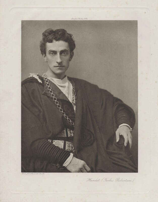 Sir Johnston Forbes-Robertson as Hamlet in 'Hamlet', by Lizzie Caswall Smith, published by  Virtue & Co, 1897 - NPG x17966 - © National Portrait Gallery, London