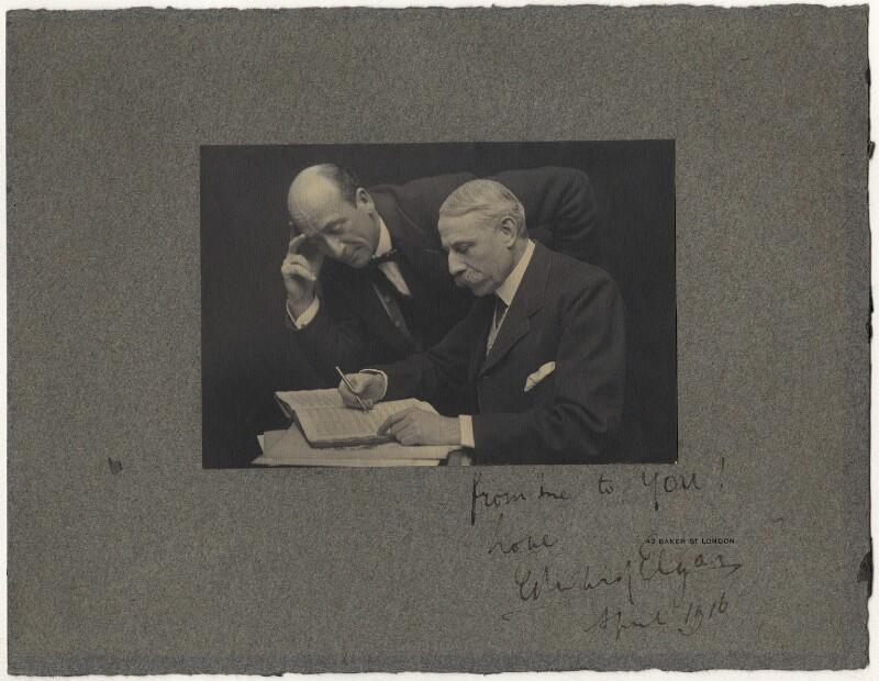 Algernon Henry Blackwood; Sir Edward Elgar, Bt, by Ernest Walter Histed, circa 1915 - NPG x19029 - © National Portrait Gallery, London