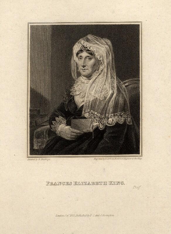 Frances Elizabeth King (née Bernard), by Edward Scriven, after  Edward Hastings, published 1822 - NPG D10569 - © National Portrait Gallery, London