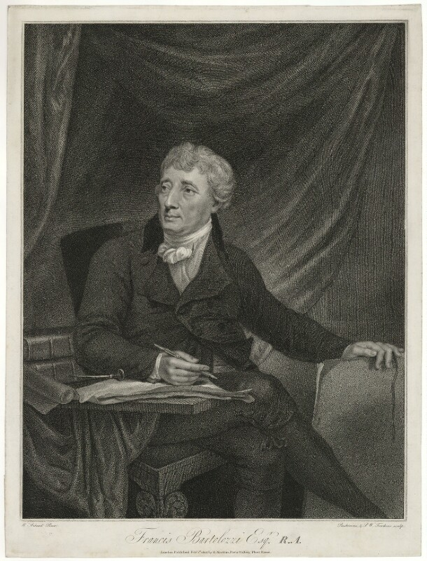 Francesco Bartolozzi, by Benedetto Pastorini, and by  Peltro William Tomkins, published by  Hannah Macklin (née Kenting), after  William Artaud, published 1803 - NPG D10587 - © National Portrait Gallery, London