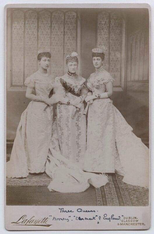 Princess Louise, Duchess of Fife; Louise, Queen of Denmark; Queen Alexandra, by Lafayette (Lafayette Ltd), 6 July 1893 - NPG x22286 - © National Portrait Gallery, London
