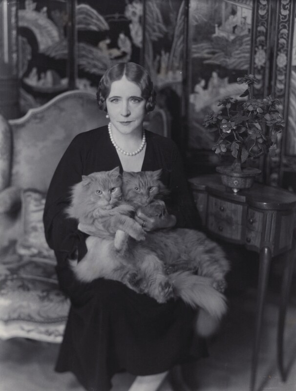 Elinor Glyn with her cats Candide and Zadig, by Claude Harris, late 1920s - NPG x24929 - © National Portrait Gallery, London