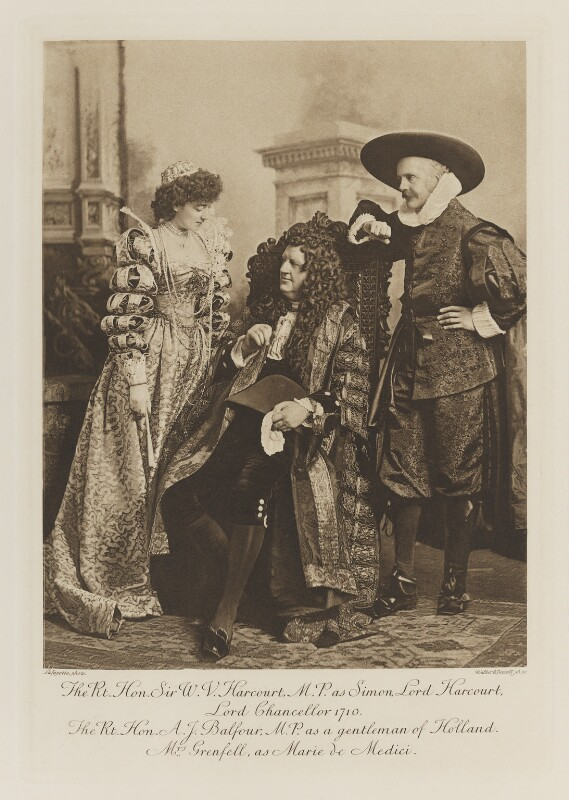 Ethel Anne Priscilla ('Ettie') Grenfell (née Fane), Lady Desborough as Marie de Medici; Sir William Vernon Harcourt as Simon, Lord Harcourt, Lord Chancellor 1710; Arthur James Balfour, 1st Earl of Balfour as a gentleman of Holland, by Lafayette, photogravure by  Walker & Boutall, 1897; published 1899 - NPG Ax41284 - © National Portrait Gallery, London