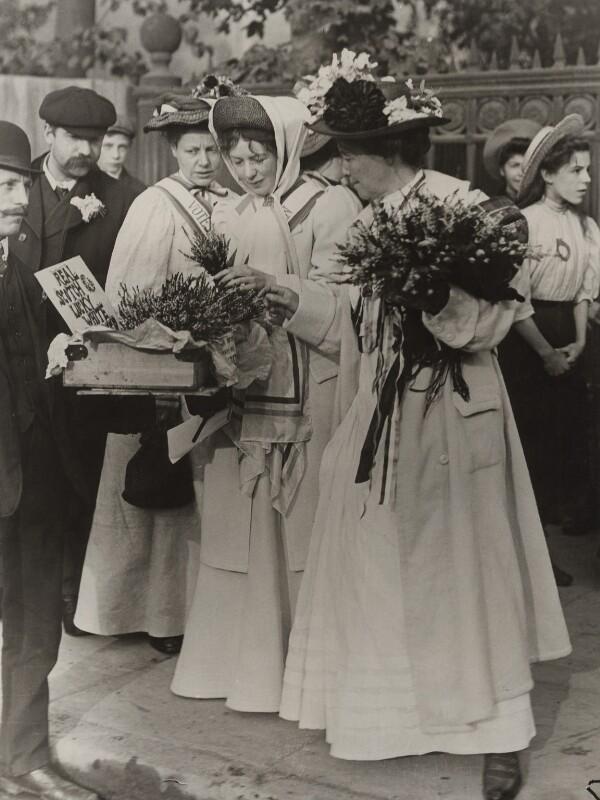 Dame Christabel Pankhurst; Emmeline Pethick-Lawrence, by Unknown photographer, 18 September 1908 - NPG x26019 - © National Portrait Gallery, London