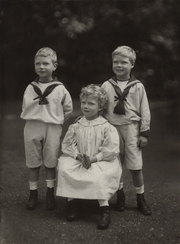 King George VI; Princess Mary, Countess of Harewood; Prince Edward, Duke of Windsor (King Edward VIII), by Elliott & Fry, 1901 - NPG x26026 - © National Portrait Gallery, London