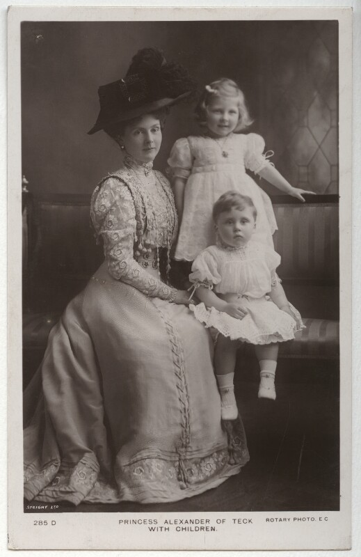 Princess Alice, Countess of Athlone; Lady May Helen Emma Abel Smith (née Cambridge); Prince Rupert, Viscount Trematon, by Speaight Ltd, printed by  Rotary Photographic Co Ltd, circa 1909 - NPG x26735 - © National Portrait Gallery, London