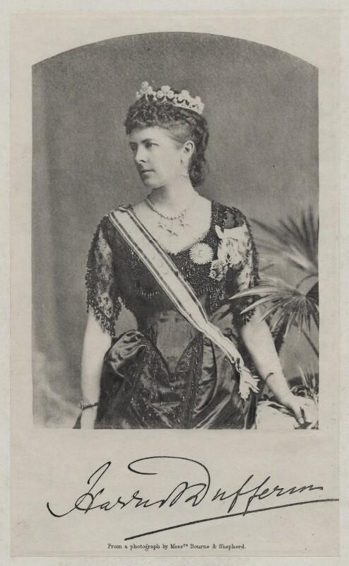 Hariot Georgina (née Rowan-Hamilton), Marchioness of Dufferin and Ava, by Bourne & Shepherd, 1884-1888 - NPG x28112 - © National Portrait Gallery, London