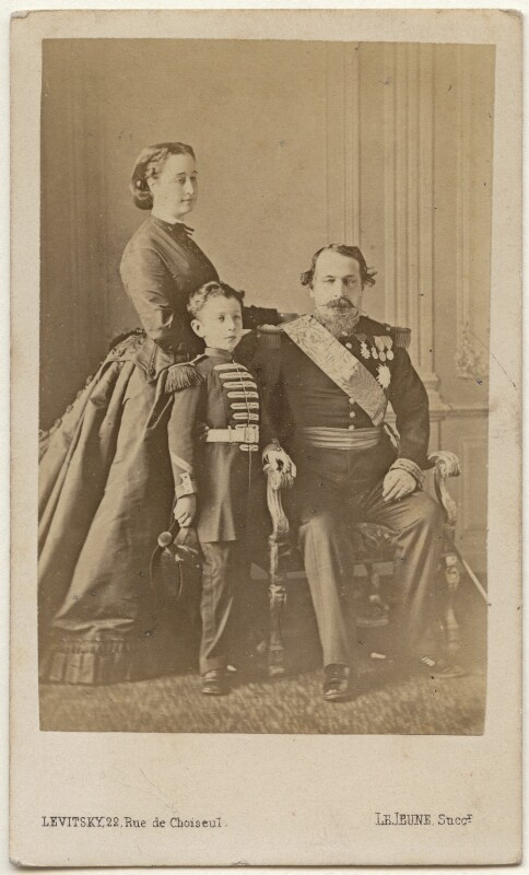 Eugénie, Empress of France; Napoléon, Prince Imperial; Napoléon III, Emperor of France, by Augustin Aimé Joseph Le Jeune, mid 1860s - NPG x28180 - © National Portrait Gallery, London
