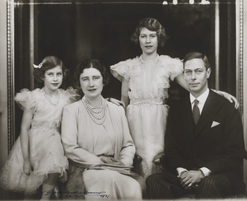 Princess Margaret; Queen Elizabeth II; Queen Elizabeth, the Queen Mother; King George VI, by Marcus Adams, 1938 - NPG x28913 - © estate of Bertram Park / National Portrait Gallery, London