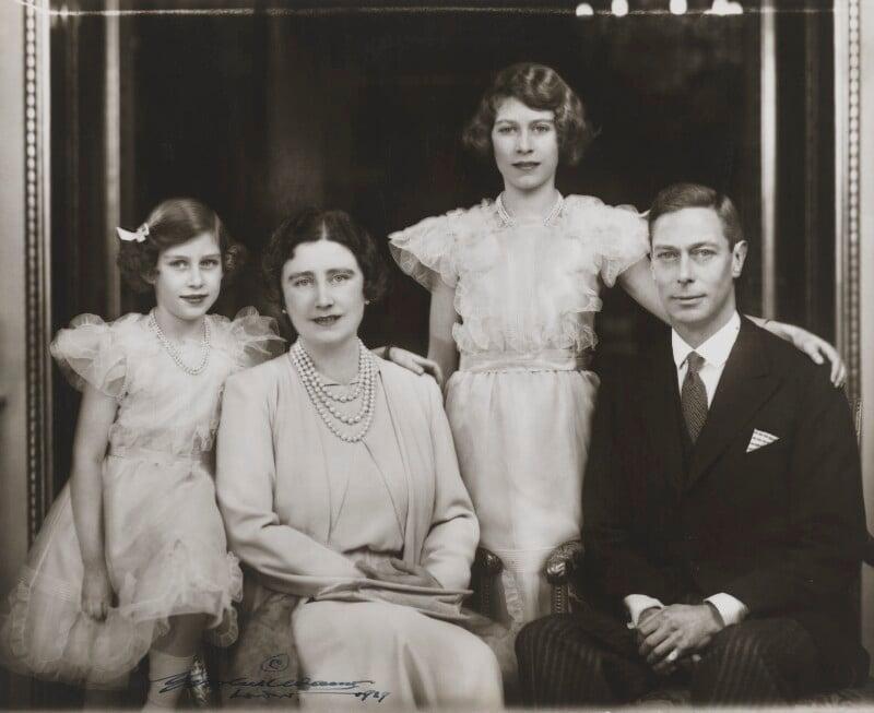Princess Margaret; Queen Elizabeth II; Queen Elizabeth, the Queen Mother; King George VI, by Marcus Adams, 1938 - NPG x28913 - © estate of Bertram Park / National Portrait Gallery, London
