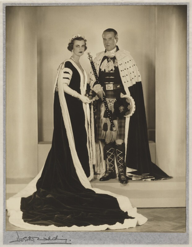 (Ethel) Margaret Campbell (née Whigham), Duchess of Argyll; Ian Douglas Campbell, 11th Duke of Argyll, by Dorothy Wilding, 1953 - NPG x30482 - © William Hustler and Georgina Hustler / National Portrait Gallery, London