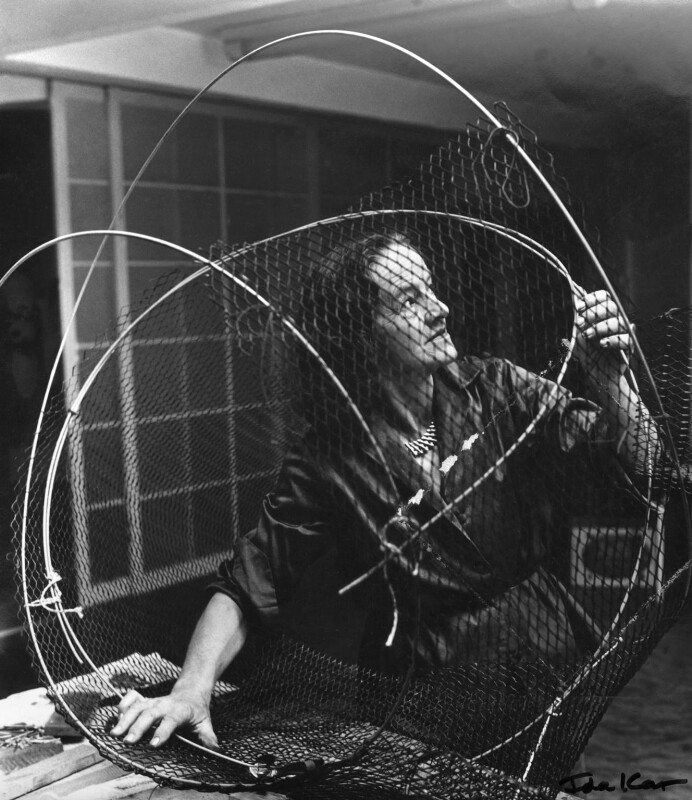 Barbara Hepworth at work on the armature of a sculpture, by Ida Kar, 1961 - NPG x88517 - © National Portrait Gallery, London