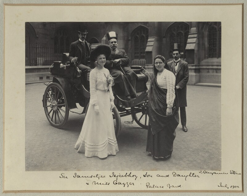 Sir Jamsetjee Jejeebhoy, 4th Bt with son, daughter and Miss Cayzer, by Benjamin Stone, July 1902 - NPG x31824 - © National Portrait Gallery, London