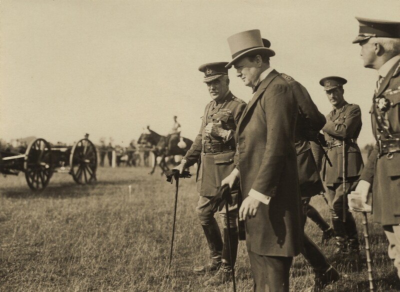 Sir William Robert Robertson, 1st Bt and Winston Churchill and three unknown others, by Unknown photographer, August 1919 - NPG x32105 - © National Portrait Gallery, London