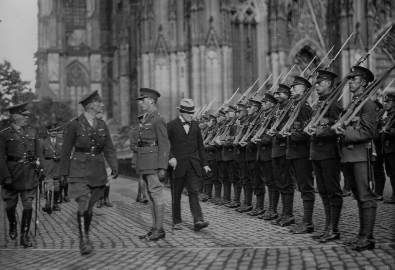 Winston Churchill inspecting a guard of honour, by Unknown photographer, August 1919 - NPG x32181 - © National Portrait Gallery, London
