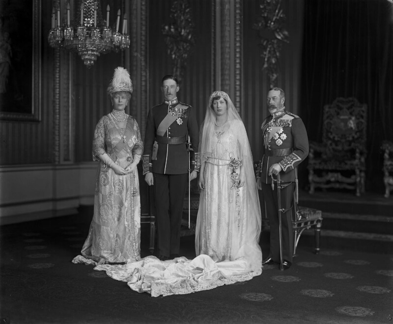 Queen Mary; Henry George Charles Lascelles, 6th Earl of Harewood; Princess Mary, Countess of Harewood; King George V, by Vandyk, 28 February 1922 - NPG x32505 - © National Portrait Gallery, London