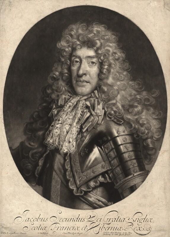 King James II, by John Smith, published by  Alexander Browne, after  Nicolas de Largillière, 1686 - NPG D10651 - © National Portrait Gallery, London