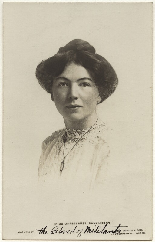 Dame Christabel Pankhurst, by Lambert Weston & Son, circa 1905 - NPG x32605 - © National Portrait Gallery, London