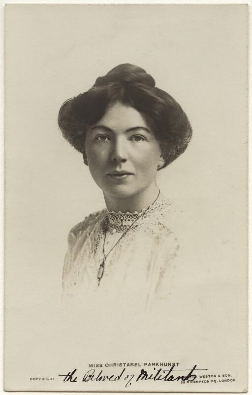 Dame Christabel Pankhurst, by Lambert Weston & Son, circa 1905 - NPG x32605 - © National Portrait Gallery, London
