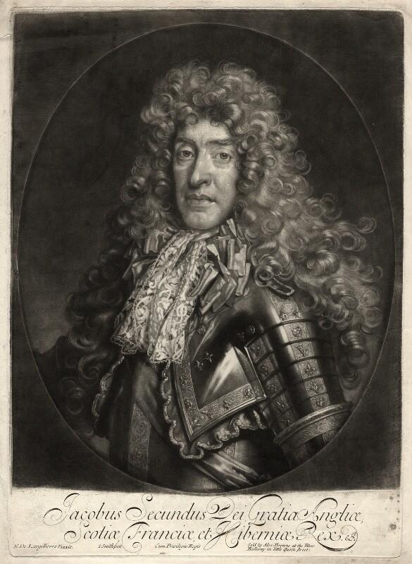 King James II, by John Smith, published by  Alexander Browne, after  Nicolas de Largillière, 1686 - NPG D10649 - © National Portrait Gallery, London