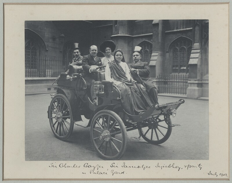 Sir Jamsetjee Jejeebhoy, 4th Bt with son, daughter, Sir Charles William Cayzer, 1st Bt and Miss Cayzer, by Sir (John) Benjamin Stone, July 1902 - NPG x32630 - © National Portrait Gallery, London