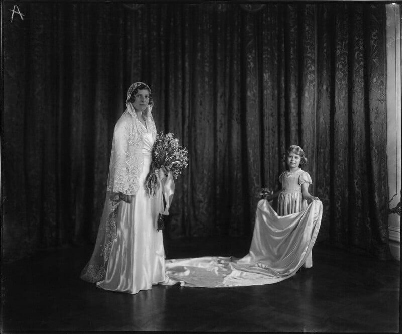 Lady May Helen Emma Abel Smith (née Cambridge) and Princess Elizabeth (Queen Elizabeth II) as her bridesmaid, by Vandyk, 24 October 1931 - NPG x32997 - © National Portrait Gallery, London