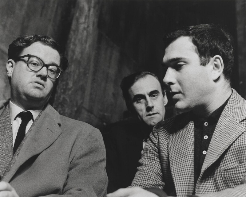 Playwrights (John Mortimer; Norman Frederick Simpson; Harold Pinter), by John Hedgecoe, 1960 - NPG P781 - © John Hedgecoe / Topfoto
