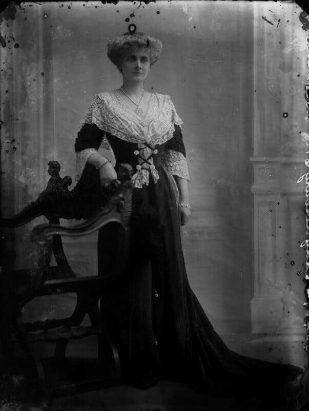 Alice Augusta Laurentia Lane (née Fox-Pitt-Rivers), Lady Avebury, by Bassano Ltd, 10 February 1911 - NPG x33824 - © National Portrait Gallery, London