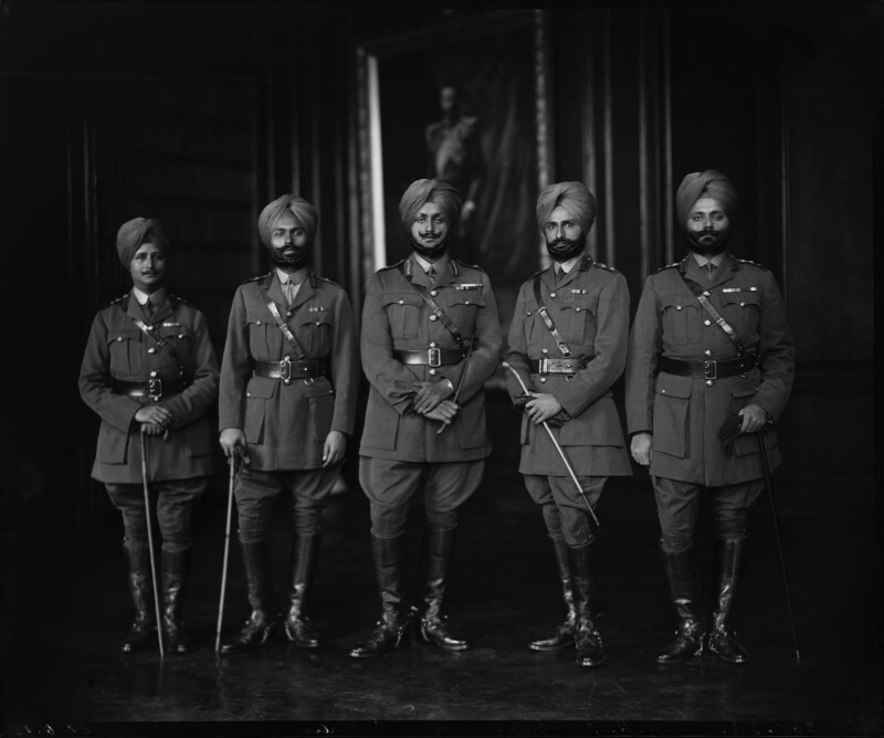 Group including Sir Bhupindra Singh, Maharaja of Patiala, by Vandyk, 22 June 1918 - NPG x34597 - © National Portrait Gallery, London