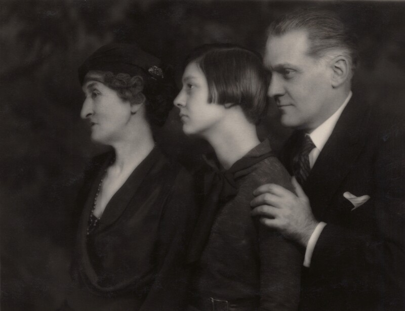 Prince Antoine Bibesco with his daughter Princess Priscilla Bibesco and Mother-in-Law Margot Asquith., by Marcus Adams, 9 December 1932 - NPG x35106 - © estate of Bertram Park / National Portrait Gallery, London