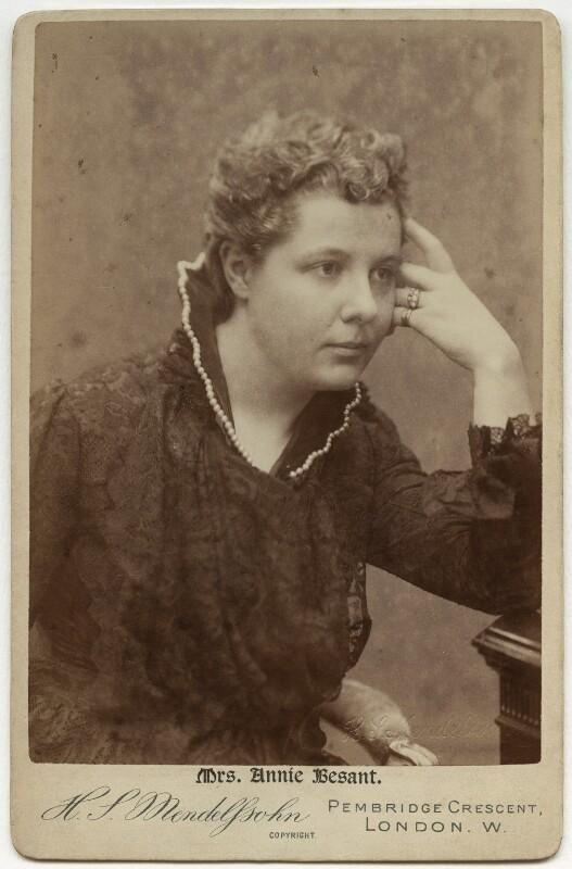 Annie Besant (née Wood), by Hayman Seleg Mendelssohn, mid 1880s - NPG x35192 - © National Portrait Gallery, London