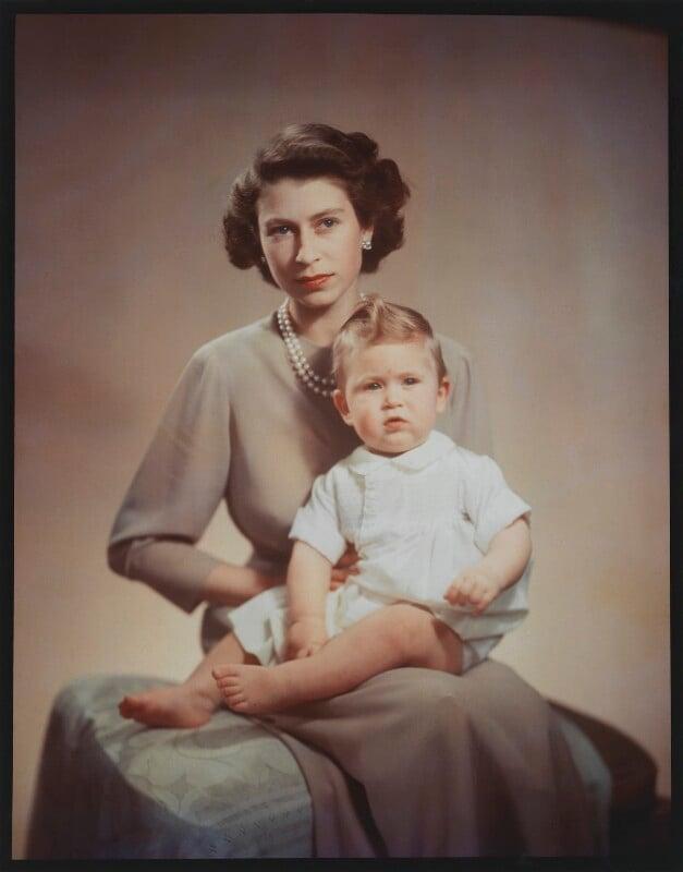 Queen Elizabeth II; Prince Charles, by Marcus Adams, 26 October 1949 - NPG x35394 - © estate of Bertram Park / National Portrait Gallery, London