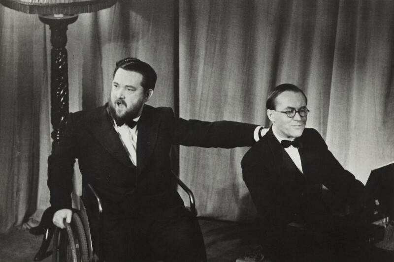 Flanders and Swann (Donald Ibrahim Swann and Michael Flanders), by (Edward) Russell Westwood, 1957 - NPG x35581 - © estate of Russell Westwood / National Portrait Gallery, London