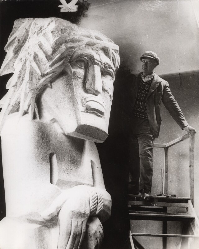 Jacob Epstein with 'Behold The Man', by Central Press, 1935 - NPG x36038 - © National Portrait Gallery, London
