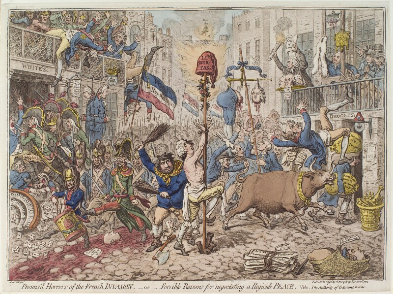 'Promis'd horrors of the French invasion, - or - forcible reasons for negotiating a regicide peace', by James Gillray, published by  Hannah Humphrey, published 20 October 1796 - NPG D12579 - © National Portrait Gallery, London