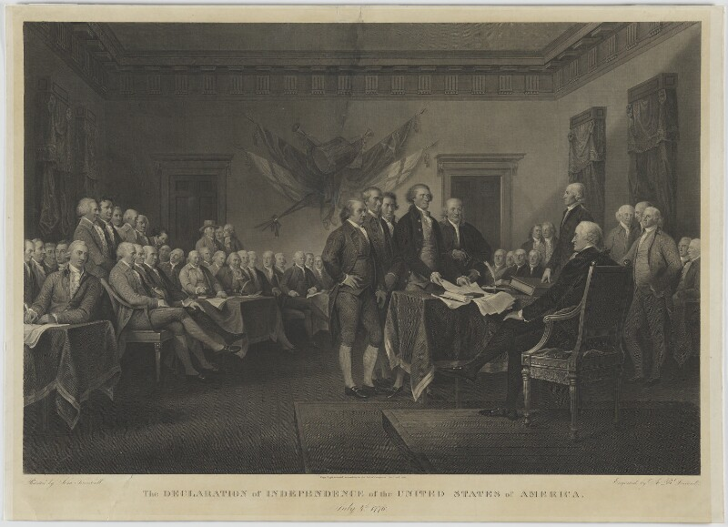 The Declaration of Independence of the United States of America, July 4th 1776, by Asher Brown Durand, after  John Trumbull, published 1820 (1786-1797) - NPG D1357 - © National Portrait Gallery, London