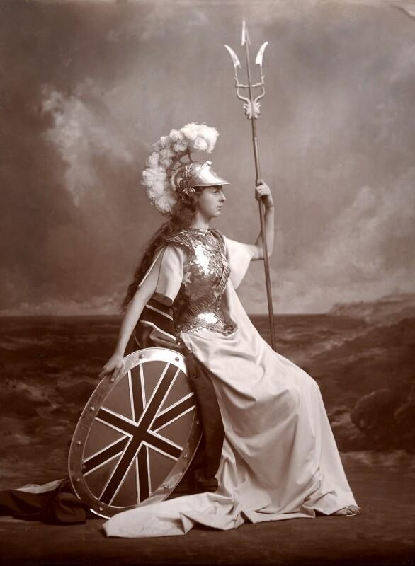 Edith Amelia (née Ward), Lady Wolverton as Britannia, by Lafayette (Lafayette Ltd), 1897 - NPG x88532 - © National Portrait Gallery, London