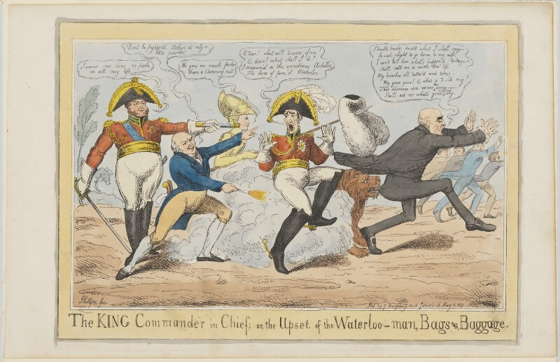 The King Commander in Chief; or, the Upset of the Waterloo-man, Bags & Baggage, by John Phillips, published by  George Humphrey, published 8 May 1827 - NPG D10676 - © National Portrait Gallery, London