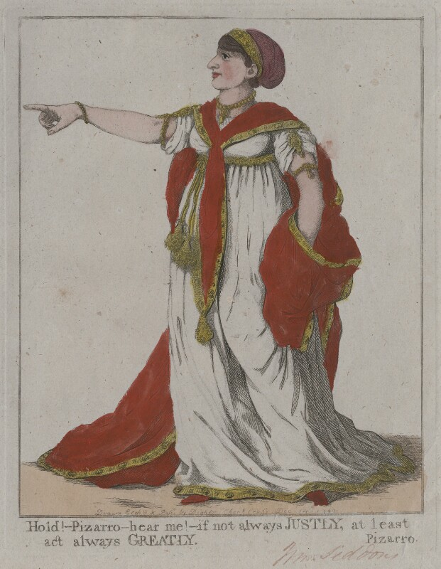 Sarah Siddons (née Kemble) ('Hold! - Pizarro - hear me! - if not always justly, at least act always greatly'), by and published by Robert Dighton, published 14 December 1799 - NPG D10687 - © National Portrait Gallery, London