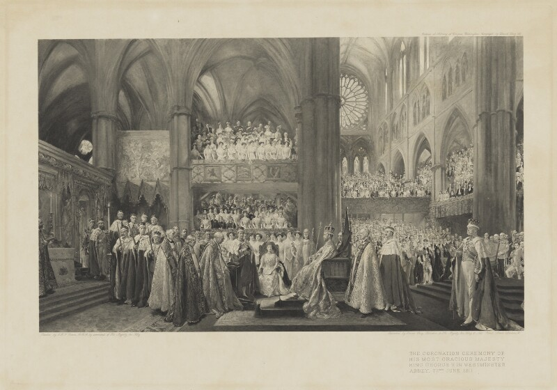 The Coronation Ceremony of His Most Gracious Majesty King George V in Westminster Abbey. 22nd June 1911, published by David Doig, after  John Henry Frederick Bacon, published 1912 - NPG D10703 - © National Portrait Gallery, London