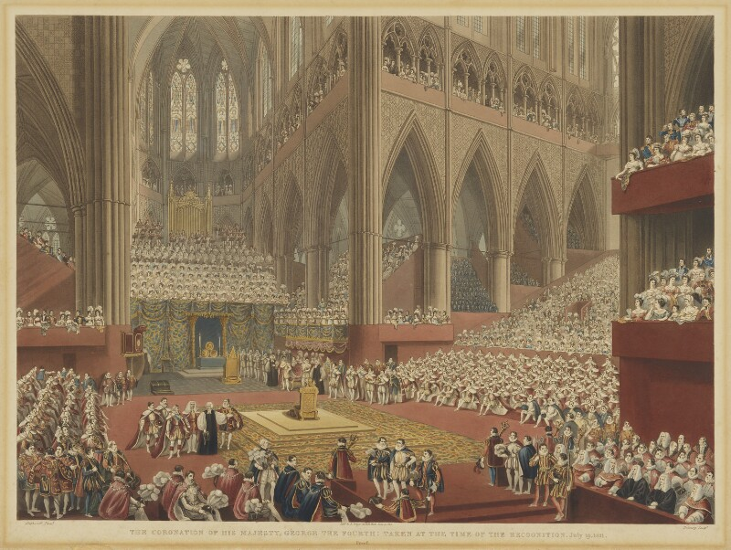The Coronation of His Majesty, George the Fourth: Taken at the Time of the Recognition. July 19, 1821, by Matthew Dubourg, after  James Stephanoff, published 1822 - NPG D10706 - © National Portrait Gallery, London