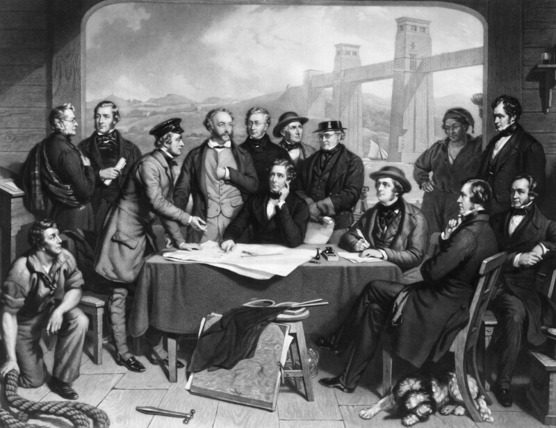 Conference of Engineers at the Menai Straits Preparatory to Floating one of the Tubes of the Britannia Bridge, by James Scott, after  John Lucas, published 1868 - NPG D10713 - © National Portrait Gallery, London