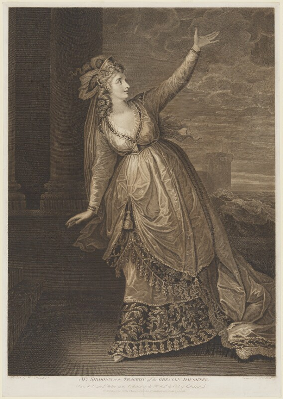 Sarah Siddons (née Kemble) ('Mrs Siddons in the Tragedy of the Grecian Daughter'), by James Caldwall, after  William Hamilton, published 1789 - NPG D10715 - © National Portrait Gallery, London