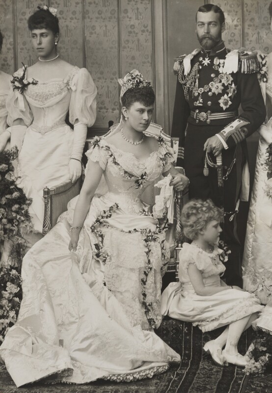 Victoria Melita, Grand Duchess of Russia; Queen Mary; King George V, by W. & D. Downey, 6 July 1893 - NPG x38434 - © National Portrait Gallery, London